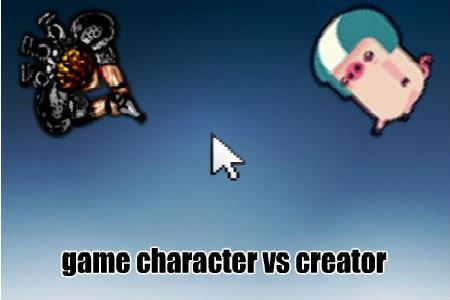 personagem do jogo vs criador
