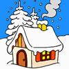 Casa na Floresta de Inverno para Colorir
