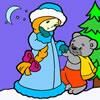Donzela de neve e o Pequeno Urso para Colorir